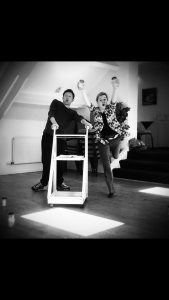 Rehearsal fun - but what are they up to?!(Richard Hansell and Amy Berry)